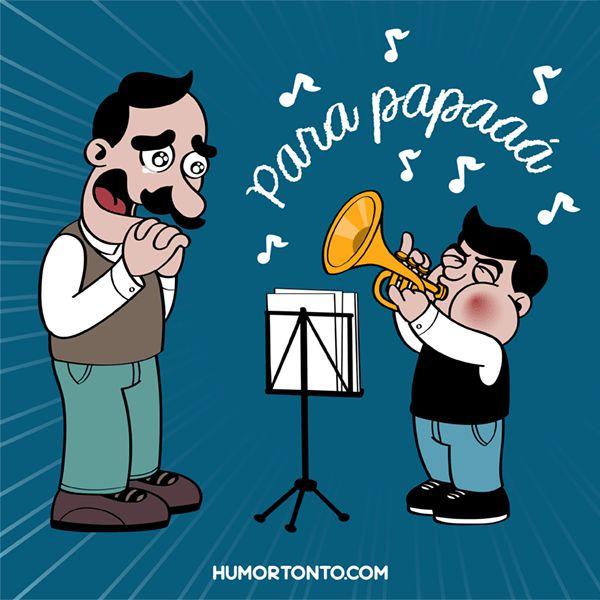 Pachín le dedica un solo de trompeta a papá.  Feliz día papás, Pepes y Pepas!