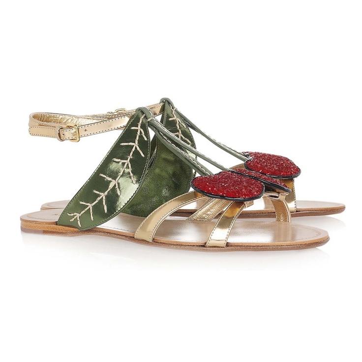 Miu Miu Metallic Leather Cherry Sandals