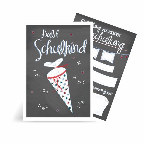 10x Einladung Einschulung Karte Junge Schultüte von Kestadt auf DaWanda.com