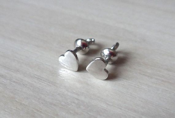Sterling Silver Stud Earrings Heart, Plain Studs Earrings, Cute Silver Earrings, Screwback Studs, Cute Everyday Jewellery, Easy to Wear