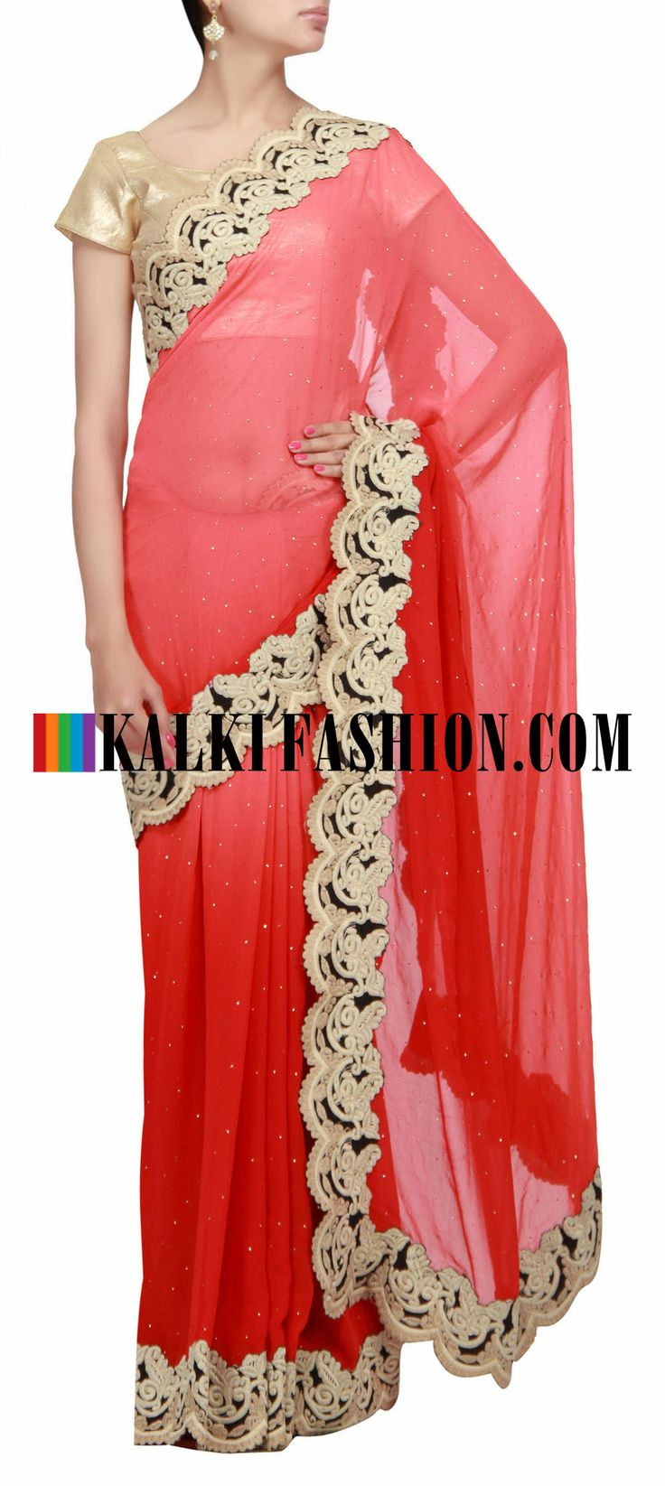 Buy Online from the link below. We ship worldwide (Free Shipping over US$100) http://www.kalkifashion.com/red-saree-highlighted-in-parsi-border.html Red saree highlighted in parsi border