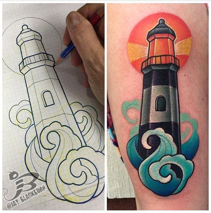 PowerLine Tattoo : Tattoos : Jay Blackburn : New School Lighthouse Tattoo                                                                                                                                                     More