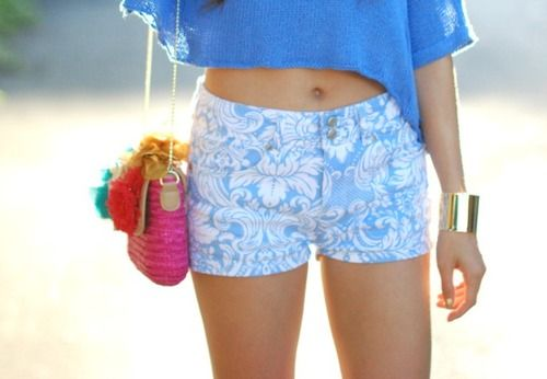 : Floral Shorts, Summer Outfits 3, Blue Outfits, Clothing, Summer Outfits3, Blueblueblu Summersumm, Stylish Style, Blue Floral, Apparel