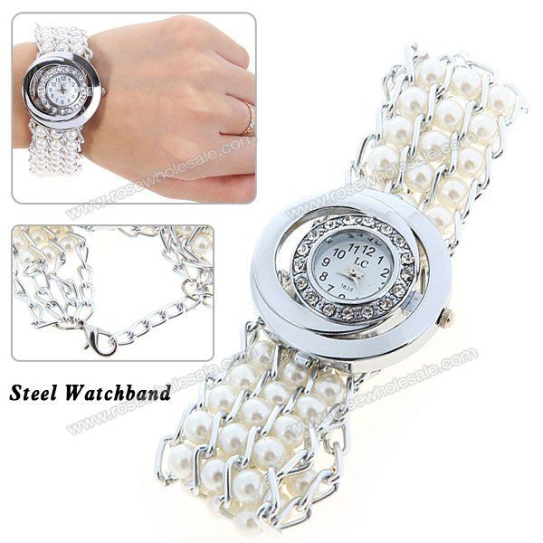 Wholesale LC Fashion Rhinestone Decoration Quartz Analog Watch with Round Dial for Female - White (WHITE), Women's Watches - Rosewholesale.com