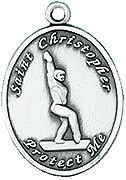 Gymnastics St. Christopher Medal Pewter from Jeweled Cross