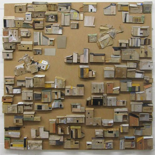 Cardboard City by Anne Rook  mixed media on mdf