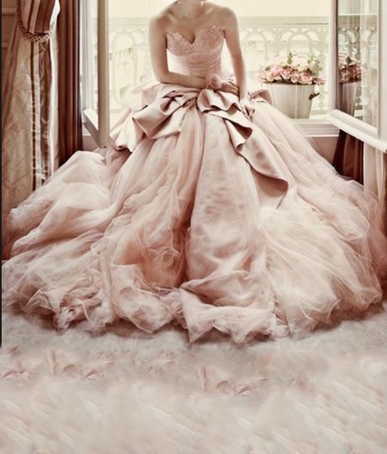 So over the top, but we love it :) Amazing Blush pink #wedding dress