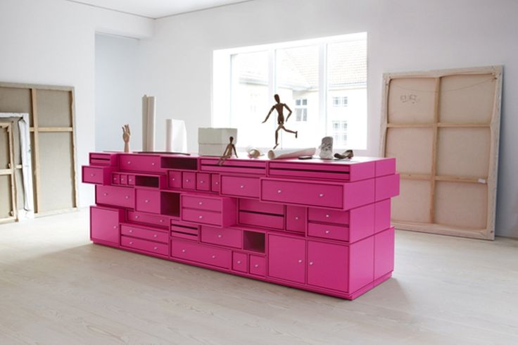 Pink rack modular furniture system by Montana
