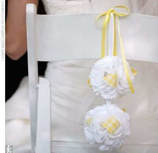 63 best chair decoration images on pinterest benches wedding for chairs tissue poms junglespirit Choice Image
