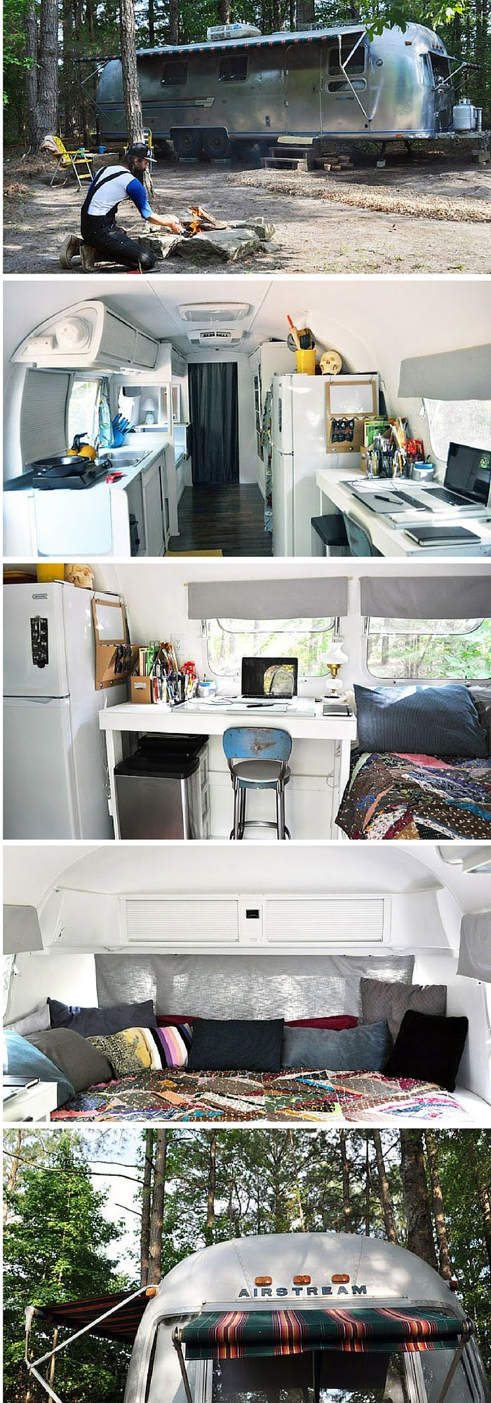 An Airstream trailer that was remodelled into a 188 sq ft home. Total cost : $6,500.