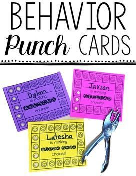 Behavior Punch Cards - This 66 page resource is great for helping your preschool, Kindergarten, 1st, 2nd, 3rd, 4th, 5th, or 6th grade students earn punches and improve their behavior! With ready made and editable forms, your student behavior will be its best yet! Use them to support the behavior or classroom management system you already have in place! $ {preK, Kinder, first, second, third, fourth, fifth, and sixth graders}