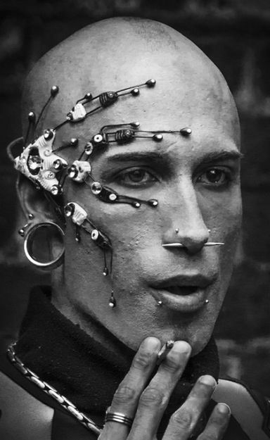 futuristic look, futuristic boy, cyberpunk, cyber punk, cyber hair, future fashion.