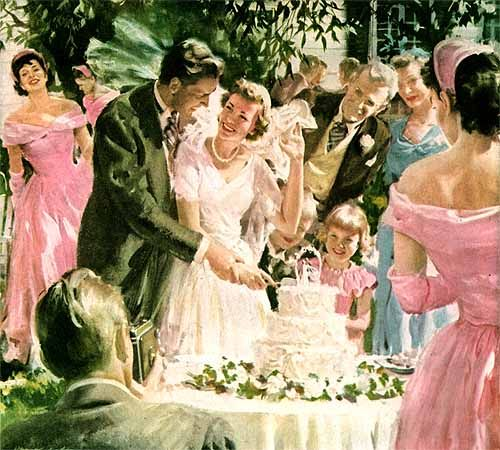 The joyful moment of cutting the wedding cake as captured by artist Harry Anderson.