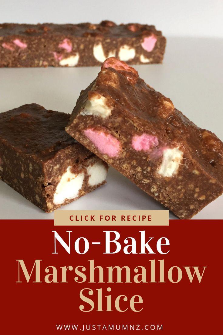 No Bake Marshmallow Slice Recipe Marshmallow Slice Tray Bake Recipes Milk Recipes