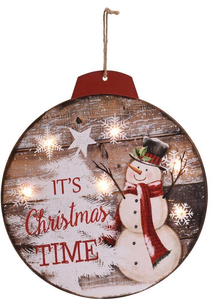 Led Light Up Hanging Christmas Bauble Wooden Decorative Wall Plaque Decoration Snowman Design Decorative Wall Plaques Christmas Plaques Christmas Baubles