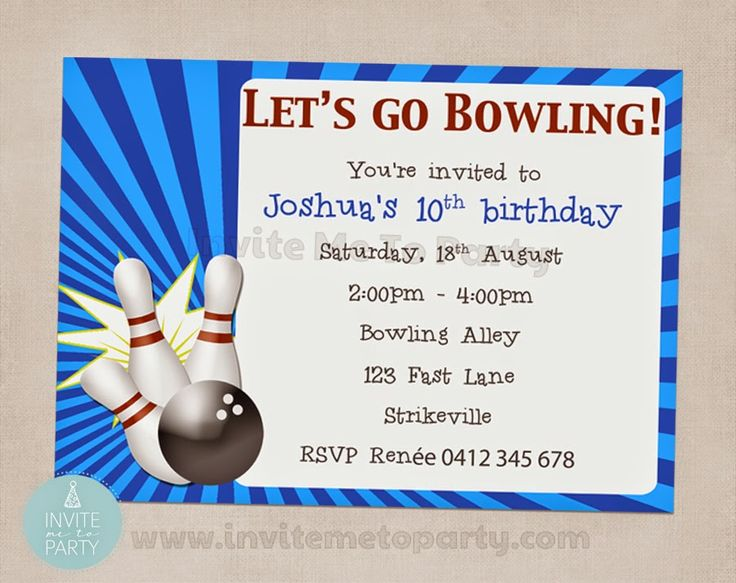 Bowling Party Invitation  Invite Me To Party: Ten Pin Bowling Party / Bowling Party