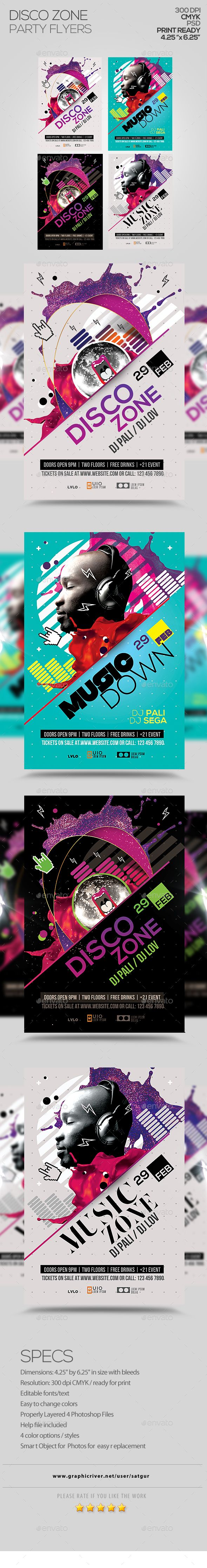 Disco Zone Party Flyer Template PSD #design Download: http://graphicriver.net/item/disco-zone-party-flyer/14489253?ref=ksioks