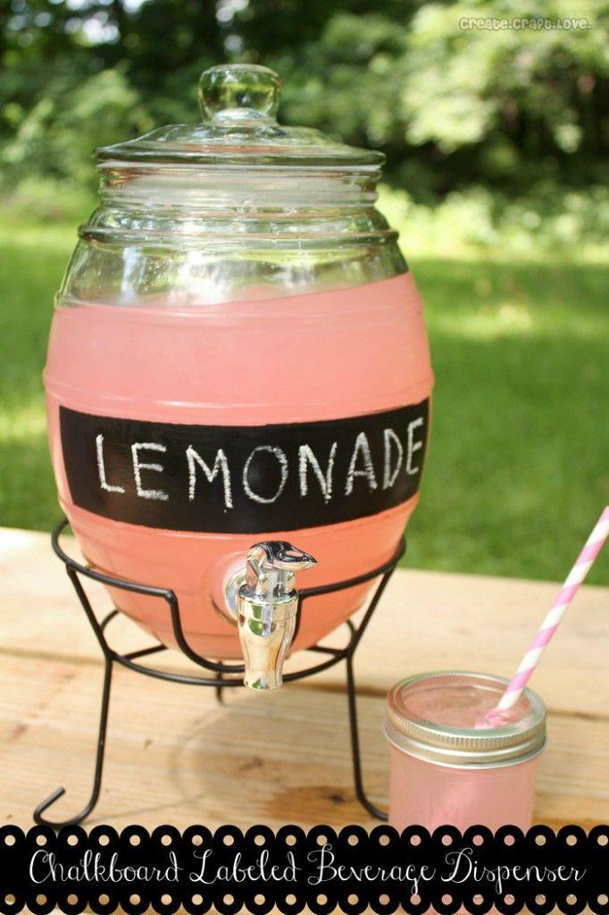Chalkboard Labeled Beverage Dispenser via createcraftlove.com #chalkboardpaint #spon