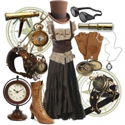 As you can see there are a myriad of ways to add Steampunk to your look from subtle to over the top. Whatever your comfort level,  try a little Steampunk because, afterall fashion is supposed to be fun.