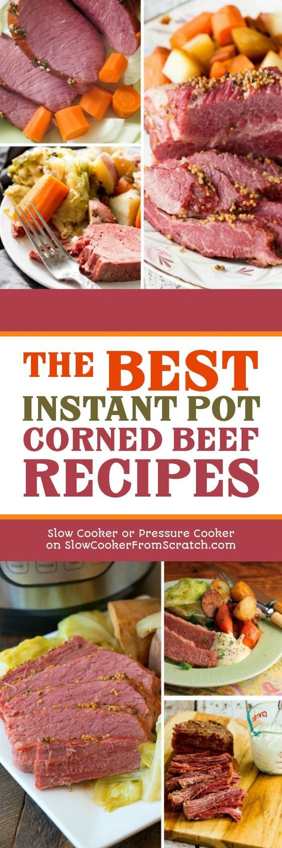 Corned Beef always becomes plentiful and goes on sale at this time of year, and it's a great choice for a low-carb meal. Here are The BEST Instant Pot Corned Beef Recipes to help you get that juicy corned beef on the table in record time! [featured on Slow Cooker or Pressure Cooker at SlowCookerFromScratch.com] #InstantPot #InstantPotCornedBeef #PressureCooker #PressureCookerCornedBeef #CornedBeefRecipes