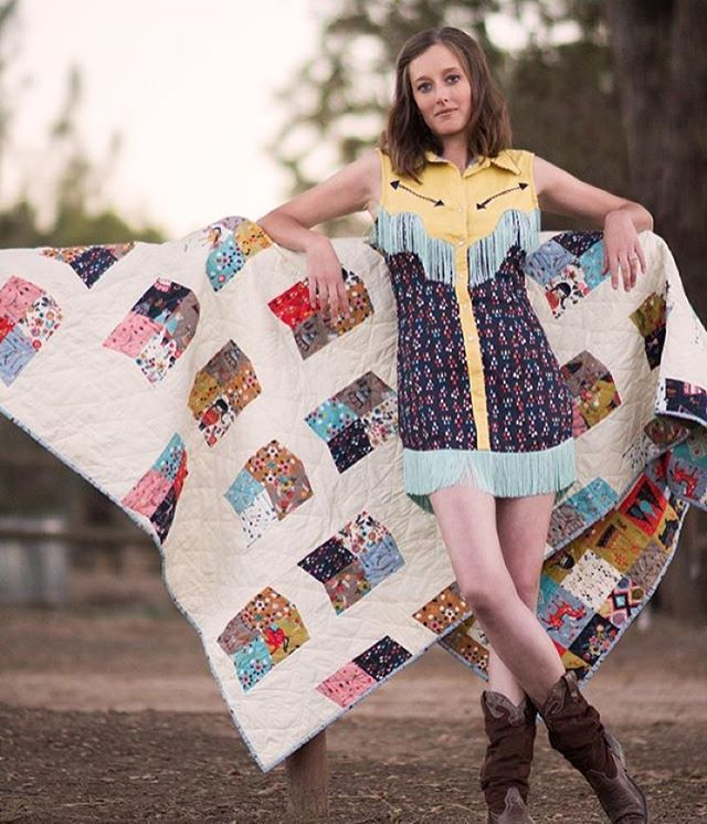 Get ready for the new Wildland collection by @miriambos_ coming in December! This fabulous dress was designed by @fablesbybarrie and the adorable quilt is by @lundendesigns. #fabric #fabricworm #modernfabric #modernsewing #sew #sewing #quilt #quilting #modernquilt #modernquilting #miriambos #western #westerndress #birchfabrics #organic #organicfabric #wildland #wildlandcollection