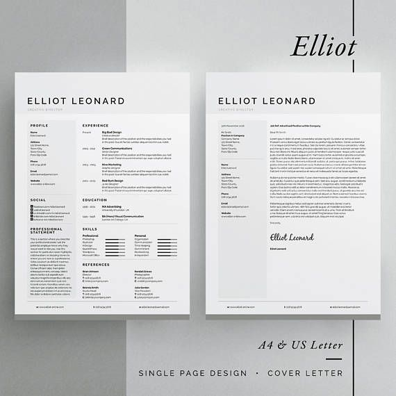 ◼︎ Includes FREE Matching Business Card Design Introducing Elliot, a clean multipurpose design, which includes a single page resume/cv and cover letter. All artwork and text is fully customisable; Easily edit the typography, wording, colors and layout. Each template uses a strong baseline/document grid which will allow you to edit or add to the layout very easily. International A4 & US Letter sizes included Includes 80 Social Icons for use within your layout (InDesign/Il...