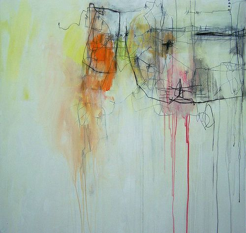 "anne-laure djaballah  white tangles 01  36""x36"", acrylic on canvas"