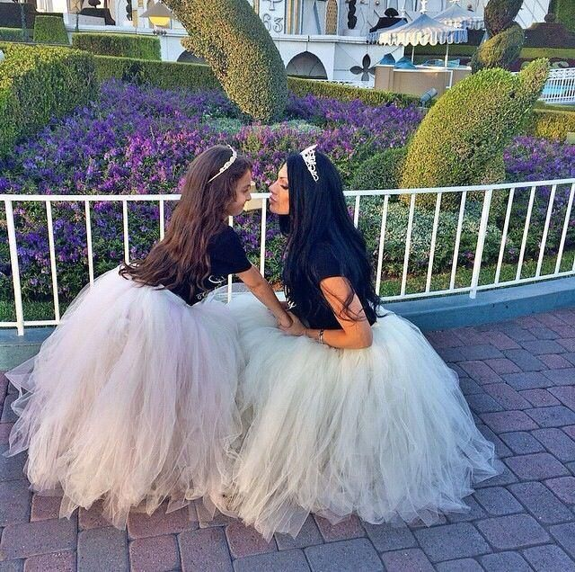 2016 White Ivory Mother And Daughter Matching Tutu Skirt Puffy Ball Gown Adult Women Mix Tulle