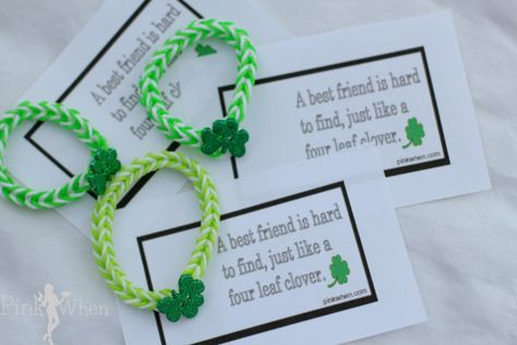 Rainbow Loom Lucky Charm Shamrock Bracelet and Free Printable