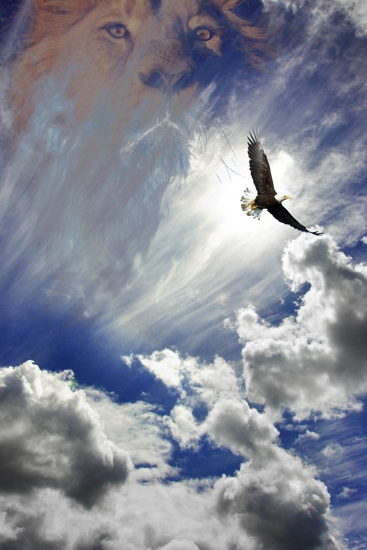Eagle and Lion Of Judah, prophetic art | HOME [onevs.com] Heavens, clouds, burst of sunrays, Holy Spirit worship painting,  Beautiful. Please also visit www.JustForYouPropheticArt.com for colorful inspirational Prophetic Art and stories. Thank you so much! Blessings!