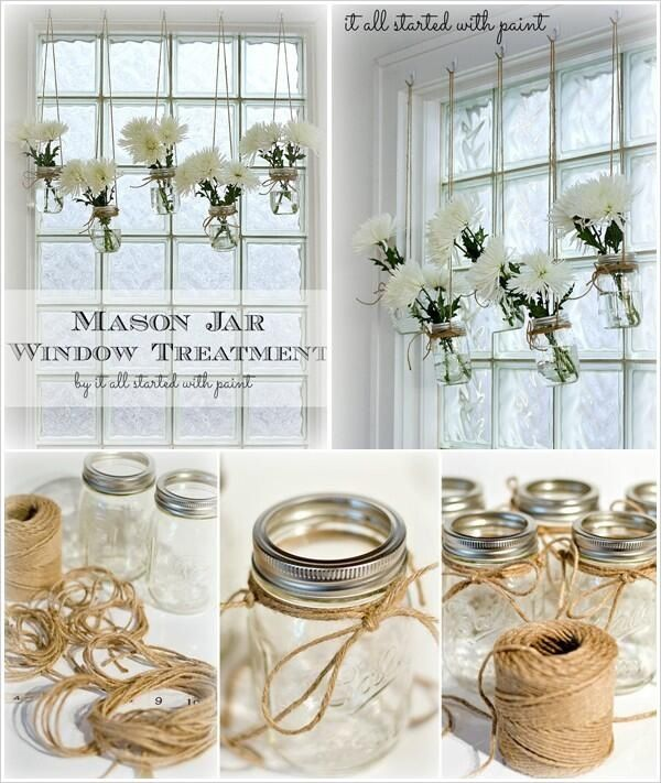 Mason jar design flowers hanging from window beautiful light room ideas pot planter
