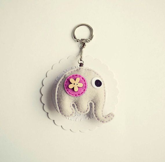 Little elephant with wooden flower button,key chain pendant, felt elephant pendant