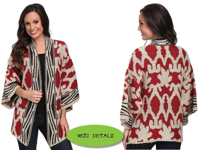 Poncho dama tricotat din bumbac cu acril by Lucky Brand Textured Poncho