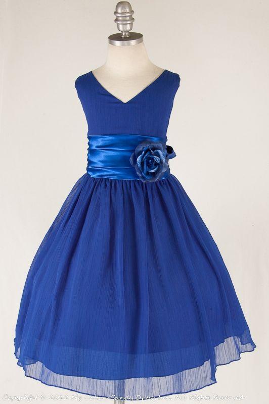 Royal Blue Flower Girl Dress - Perfect match between dull chiffon with shiny satin.