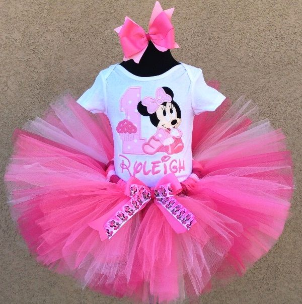 Baby Minnie Mouse Sweet Pink Cupcake 1st Birthday Tutu Outfit