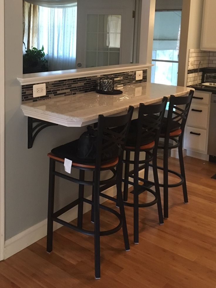 DIY Breakfast Bar. Glass Backsplash, Quartz Counter, Wrought Iron Brackets & Wrought Iron Bar Stools