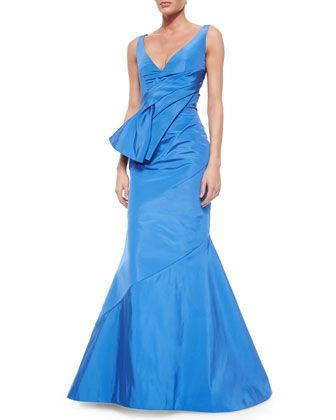 Fold-Pleated Sash-Detailed Mermaid Gown by Oscar de la Renta at Neiman Marcus.