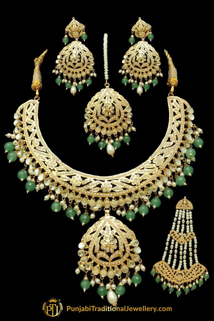 cd77ff7342766 Green Jadau Kundan Necklace Set With Passa in 2019 | Punjabi ...