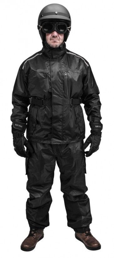 Black Brand Tempest Two Piece Mens Motorcycle Street Rain Suit