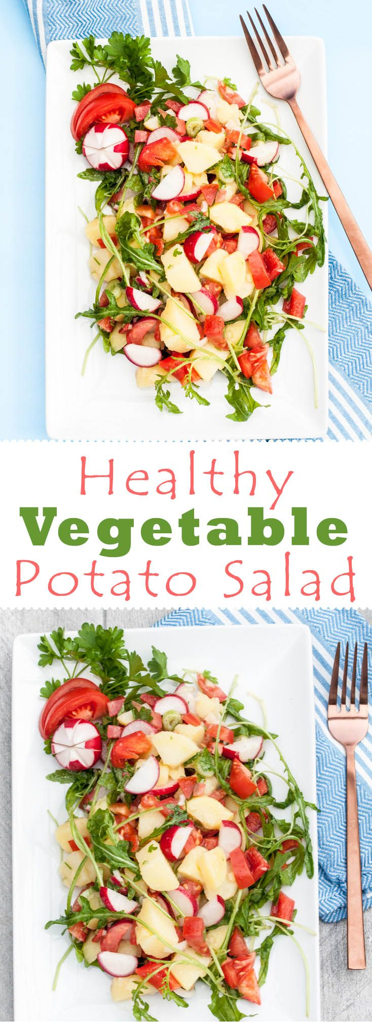 Healthy Vegetable Potato Salad loaded with lots of veggies! Super healthy side or even as a main ;) /// VeganFamilyRecipes.com /// #potatoes #vegan #vegetarian