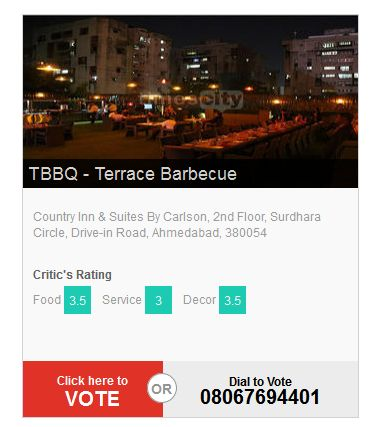 "The voting for India's Largest Culinary Awards ‪#‎TimesFoodAwards‬ is open. Vote for TBBQ -Terrace Barbeque favorites NOW! Call Now !! 08067694307 under ""Best Kebabs category"" and 08067694401 under ""Best Ambience category"""