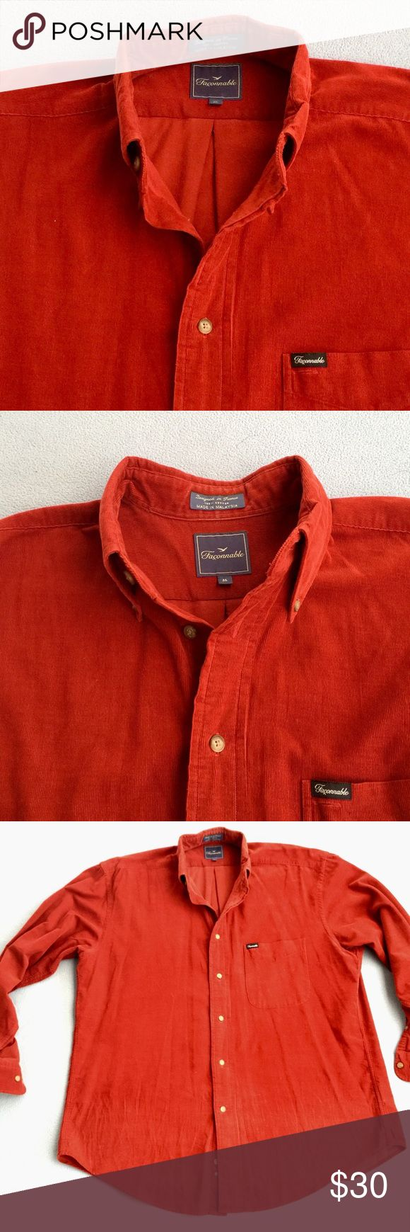 Men's red button down Faconnable shirt Light signs of wear that are hard to capture in photos.  Reflected in price Faconnable Shirts Casual Button Down Shirts