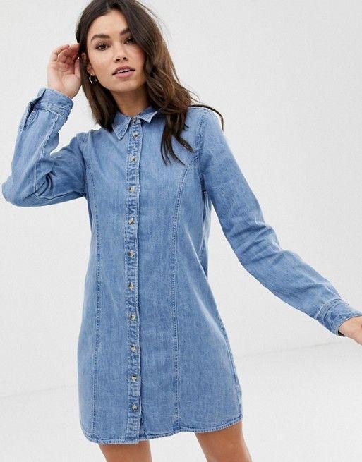 b901a4db242c8b DESIGN denim fitted western shirt dress in midwash blue in 2019 ...
