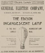 Edison Ad for Incandescent Lightbulb