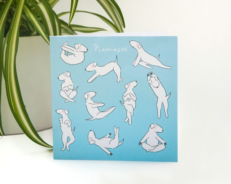 Dog Yoga Poses 'Doga' - Funny Illustrated Greeting Card by LizzieMayDesign on Etsy
