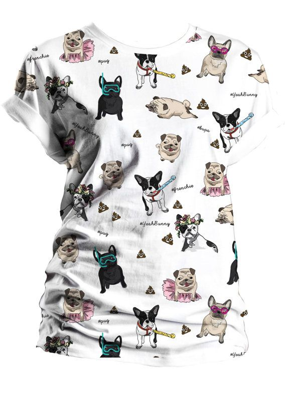 ------- 15 % discount ------  USE CODE: YBPIN  -------------------------------  at yeahbunny.etsy.com  --------------------------------  T-SHIRT  Dogs Attack   Frenchie Pug Boston   by Yeah by YeahBunny Perfect Gift :)
