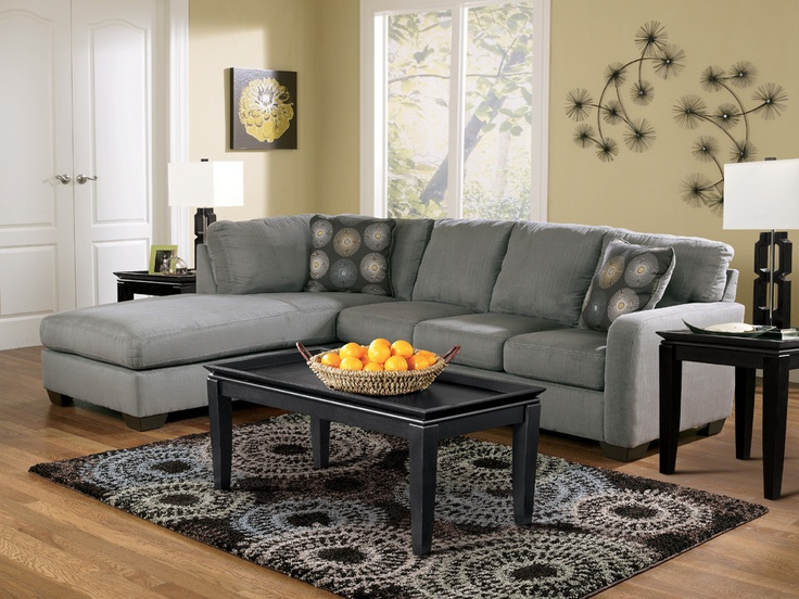 signature design by ashley zella charcoal sectional sofa with left arm facing chaise at wayside furniture