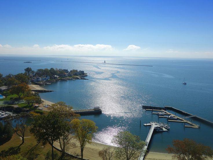 Vista da baía em Stamford, Connecticut, USA.