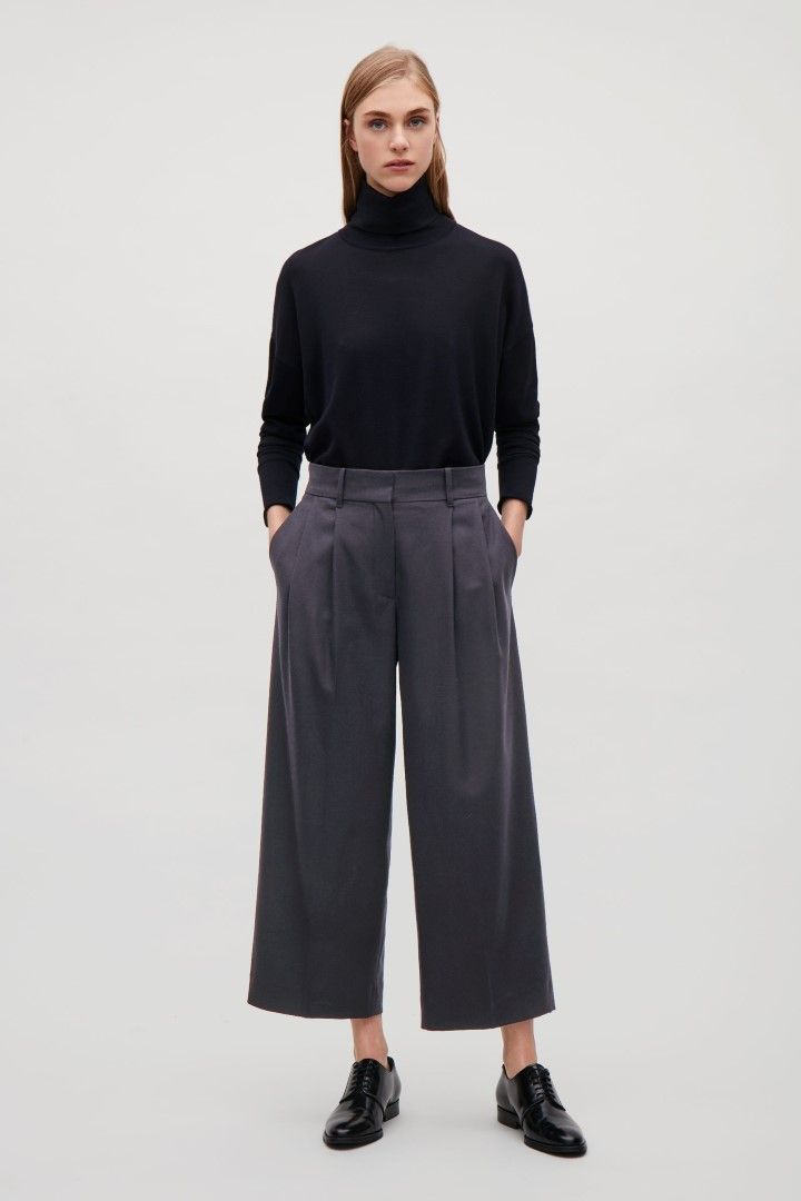 COS image 1 of Wide-leg flannel trousers  in Navy