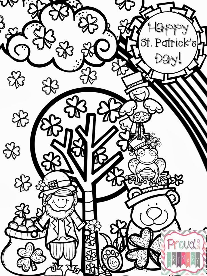 St patricks day coloring page on proud to be primary